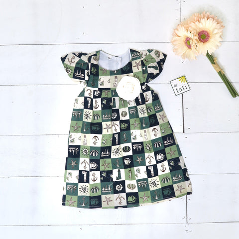 Magnolia Dress in Sailor Green-Lil' Tati