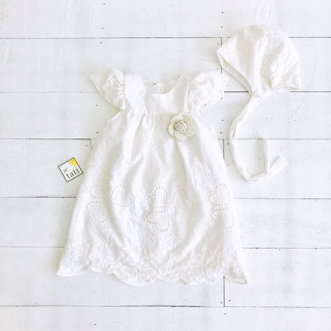 Magnolia Christening Set in Hearts Eyelet White-Lil' Tati