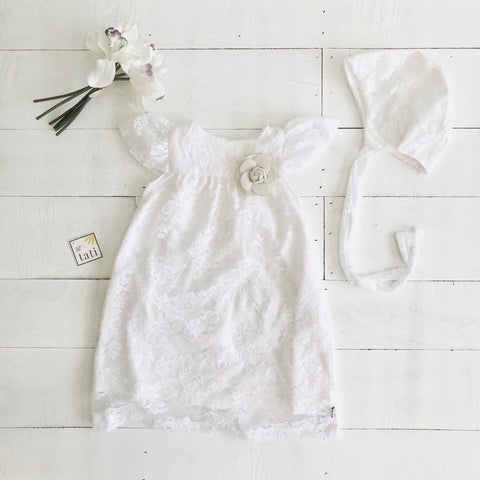 Magnolia Christening Set in Pure White Fine Lace - Lil' Tati