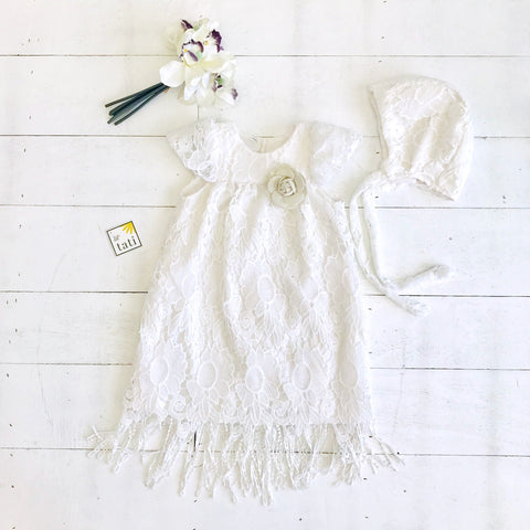 Magnolia Christening Set in White Sunflower Lace - Lil' Tati