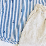 Maple Top & Shorts in Anchor Stripes and Beige Linen - Lil' Tati