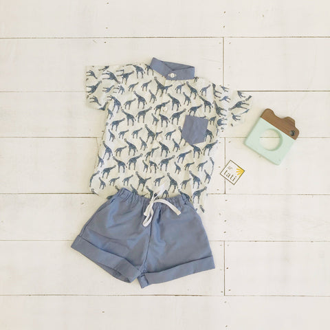 Cedar Top & Shorts in Giraffe White/ Pinstripes-Lil' Tati