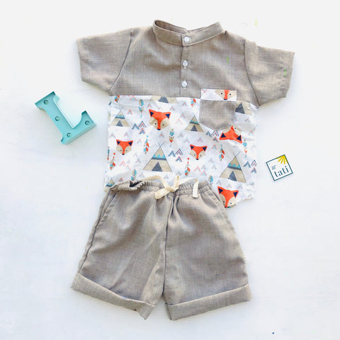 Maple Top & Shorts in Indian Fox Print-Lil' Tati
