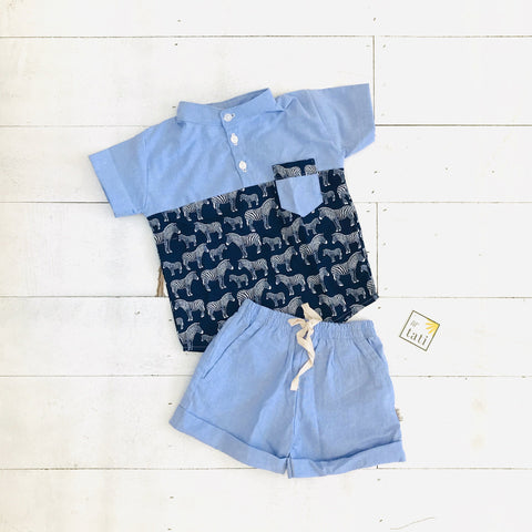 Maple Top & Shorts in Navy Zebra Print - Lil' Tati