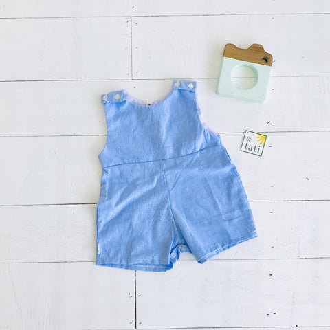 Oak Playsuit in Blue Linen