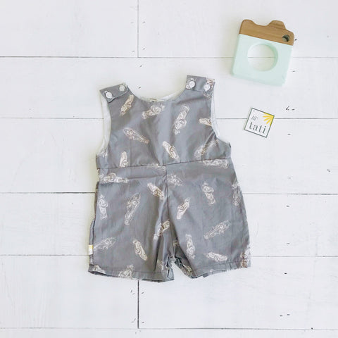 Oak Playsuit in Gray Race Car Print
