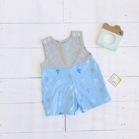 Oak Playsuit in Gray Stretch & Anchor Blue - Lil' Tati