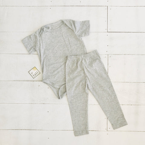 Cotton Stretch Onesie & Leggings Set - Gray-Lil' Tati