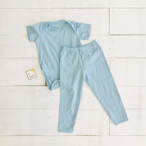 Cotton Stretch Onesie & Leggings Set - Light Blue - Lil' Tati