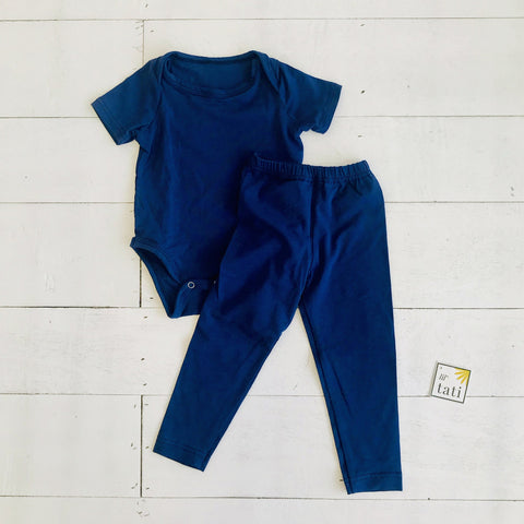 Cotton Stretch Onesie & Leggings Set - Navy-Lil' Tati