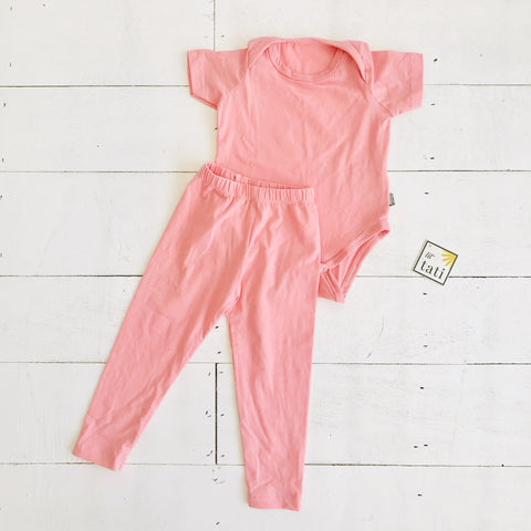 Cotton Stretch Onesie & Leggings Set - Pink-Lil' Tati