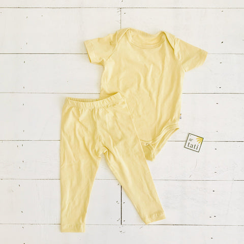 Cotton Stretch Onesie & Leggings Set - Yellow-Lil' Tati