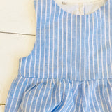 Orchid Playsuit in Blue Bell Stripes Linen - Lil' Tati