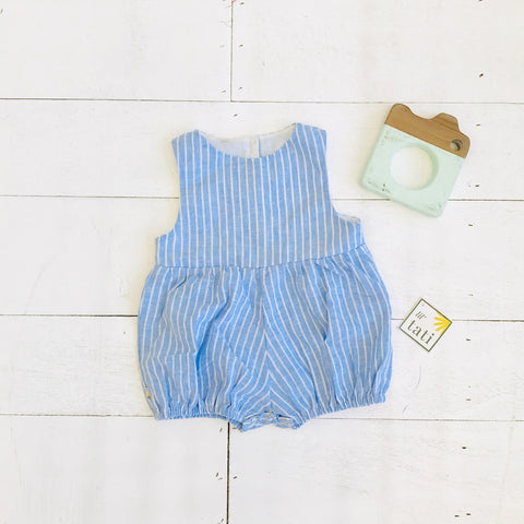 Orchid Playsuit in Blue Bell Stripes Linen-Lil' Tati