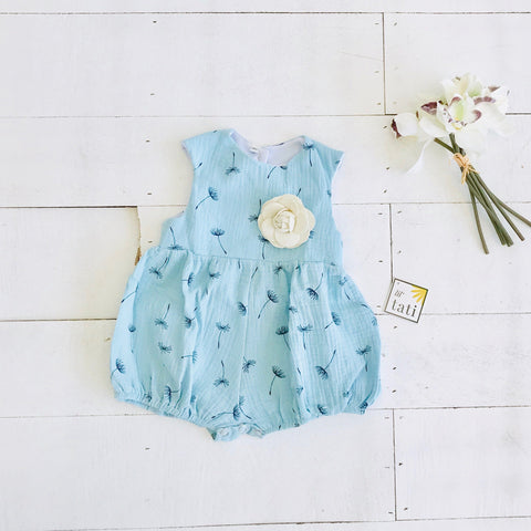 Orchid Playsuit - Cap Sleeves in Crepe - Dandelion Blue - Lil' Tati