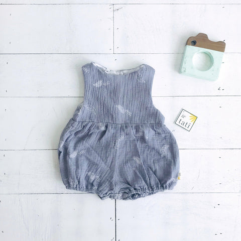 Orchid Playsuit in Crepe - Leafy Gray-Lil' Tati