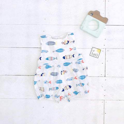 Orchid Playsuit in Fish are Friends Print-Lil' Tati