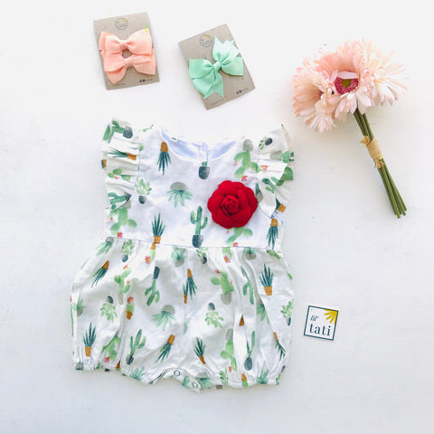 Orchid Playsuit - Ruffle Sleeves in Cactus Bay Print-Lil' Tati