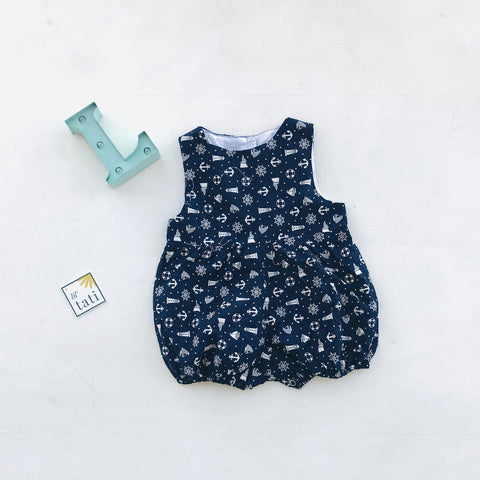 Orchid Playsuit in Sailor Blue Print - Lil' Tati