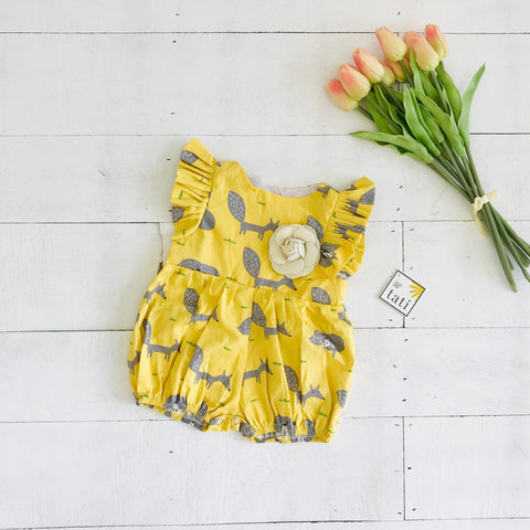 Orchid Playsuit - Ruffle Sleeves in Yellow Fox-Lil' Tati