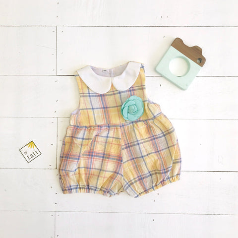Orchid Playsuit - Collar in Yellow Plaid-Lil' Tati