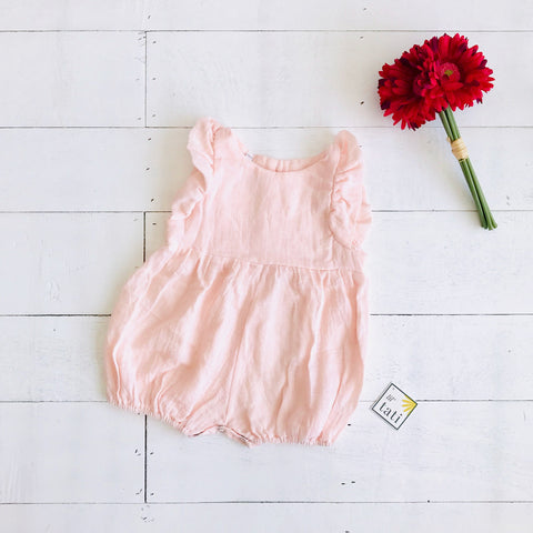 Orchid Playsuit - Ruffle Sleeves in Organic Muslin - Pink-Lil' Tati