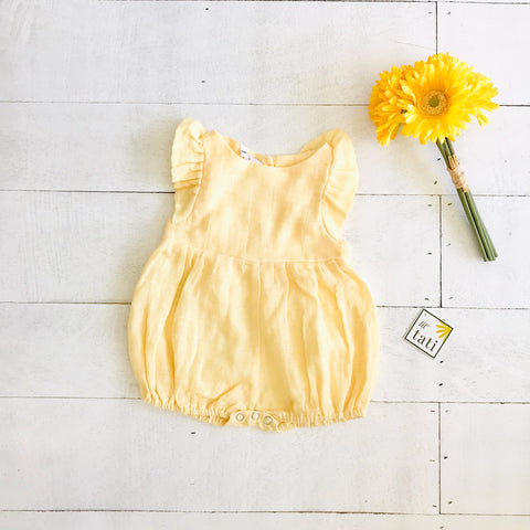 Orchid Playsuit - Ruffle Sleeves in Organic Muslin - Yellow-Lil' Tati