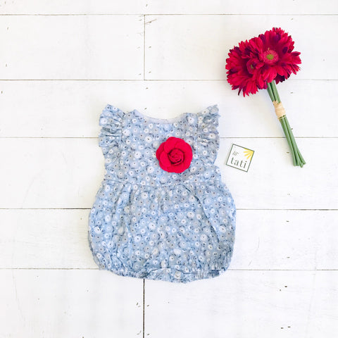Orchid Playsuit - Ruffle Sleeves in Soft Blue Flowers - Lil' Tati