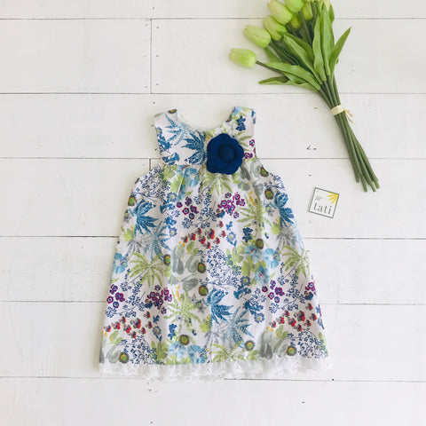 Peony Dress in Botanical Garden Print - Lil' Tati