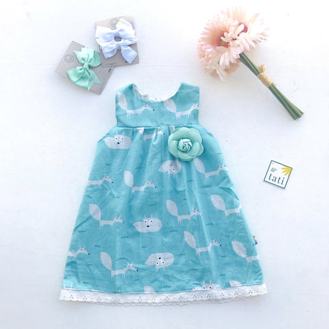 Peony Dress in Mint Fox - Lil' Tati