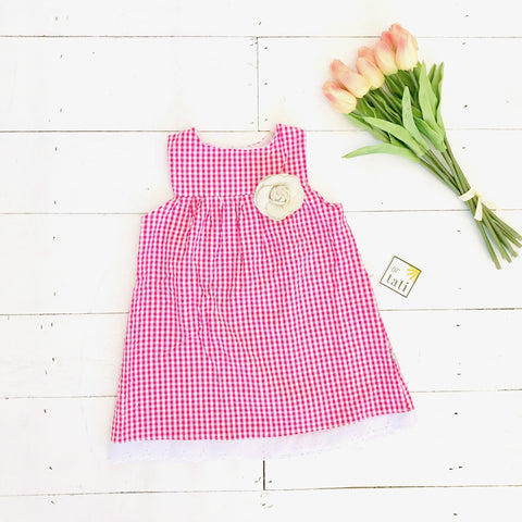 Peony Dress in Strawberry Pink Seersucker-Lil' Tati