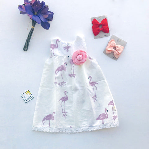 Peony Dress in Flamingo Summer White - Lil' Tati