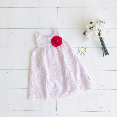 Peony Dress in Baby Pink Eyelet - Lil' Tati