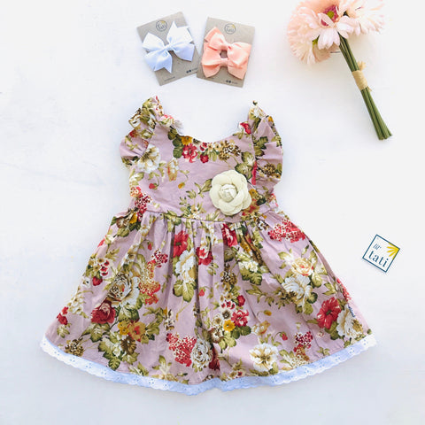 Periwinkle Dress in Blush Pink Posy Print