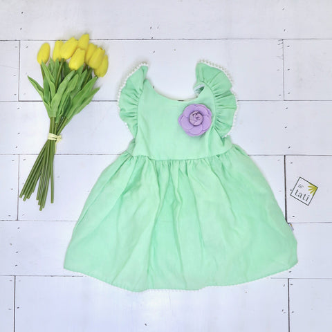 Periwinkle Dress in Light Green Linen - Lil' Tati