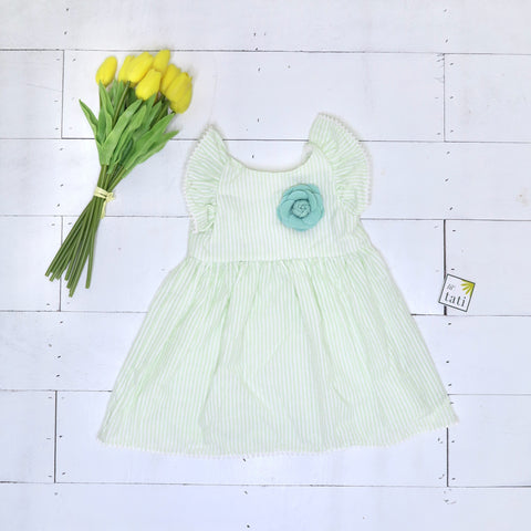 Periwinkle Dress in Mint Seersucker - Lil' Tati