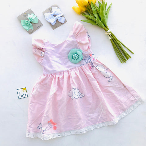 Periwinkle Dress in Pink Bunnies Print - Lil' Tati