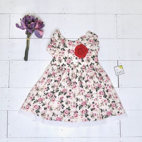 Periwinkle Dress in Pretty Pink Roses Print - Lil' Tati