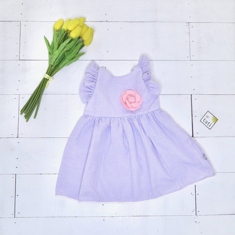 Periwinkle Dress in Purple Seersucker - Lil' Tati