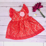 Periwinkle Dress in Red Paisley Lace-Lil' Tati