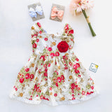Periwinkle Dress in Red Roses Print-Lil' Tati