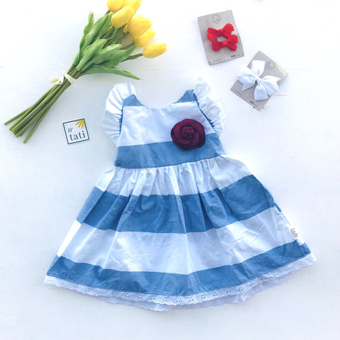 Periwinkle Dress in Bold White & Blue Stripes - Lil' Tati