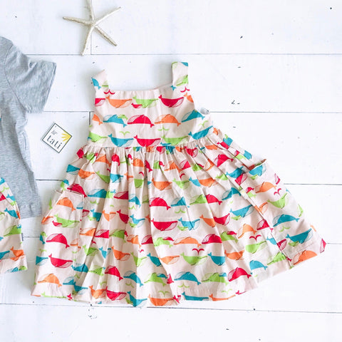 Poppy Dress in Colorful Whales Print - Lil' Tati