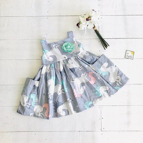 Poppy Dress in Unicorn Gray Print
