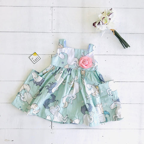 Poppy Dress in Unicorn Mint Print-Lil' Tati