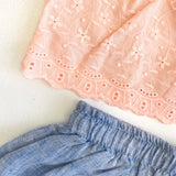 Quince Top and Bloomers in Peach Eyelet & Blue Linen-Lil' Tati