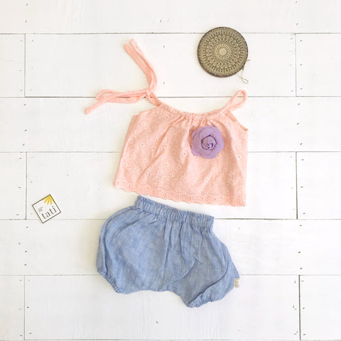 Quince Top and Bloomers in Peach Eyelet & Blue Linen - Lil' Tati