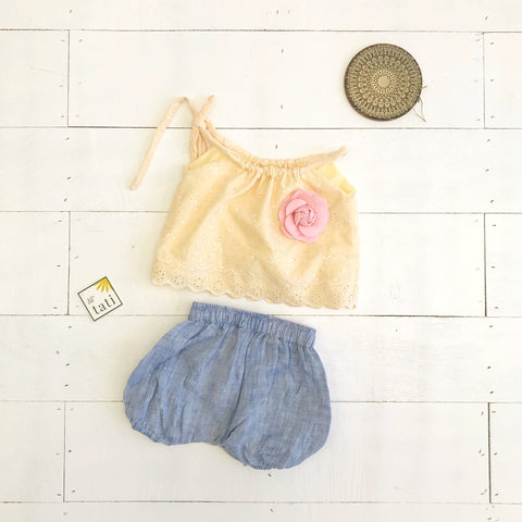 Quince Top and Bloomers in Yellow Eyelet & Blue Linen-Lil' Tati