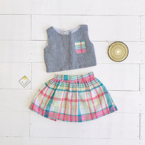 Sage Top and Skirt in Gray Linen & Bright Plaid-Lil' Tati