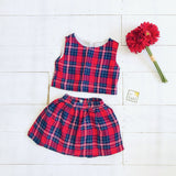 Sage Top and Skirt in Red Tartan - Lil' Tati